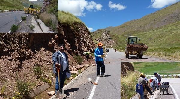 SANTA ROSA: Comuna local realiza mantenimiento de la vía asfaltada en Santa Rosa- Melgar